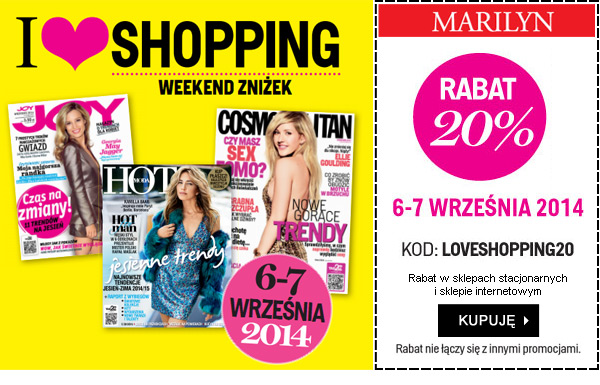 Weekend zniżek  z magazynami JOY, HOT i Cosmopolitan. I LOVE SHOPPING - Rabat -20%